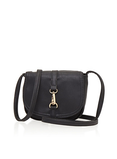 Faux Leather Flap Crossbody Bag with Lock,BLACK,large