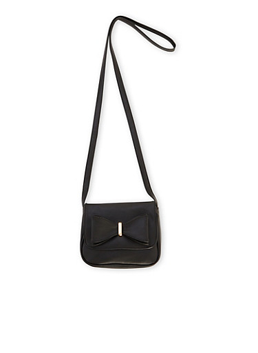 Faux Leather Crossbody Bag with Bow Accent,BLACK,large