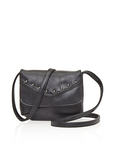 Mini Crossbody Bag with Zipper and Stud Trim,BLACK,large