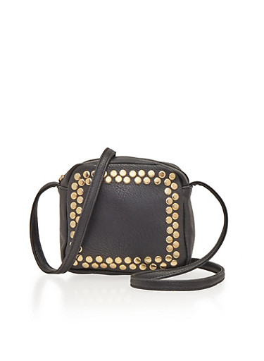 Square Crossbody Bag with Studs,BLACK,large