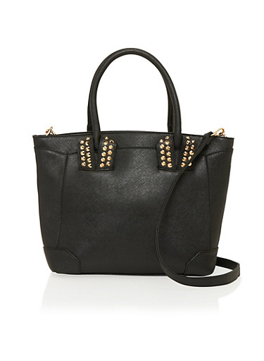 Faux Leather Studded Tote Bag with Detachable Shoulder Strap,BLACK,large
