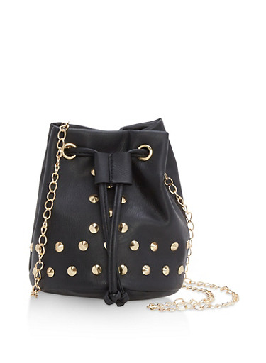Mini Studded Bucket Crossbody Bag,BLACK,large