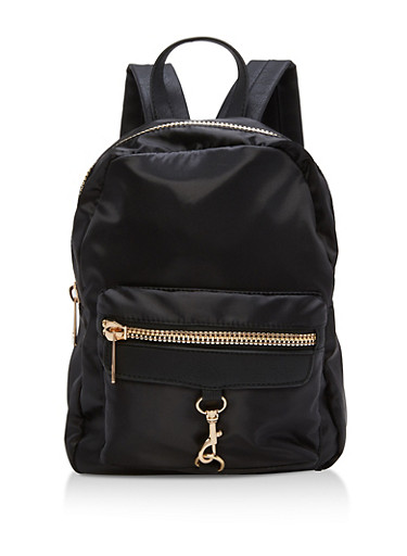 Small Satin Zipper Backpack,BLACK,large
