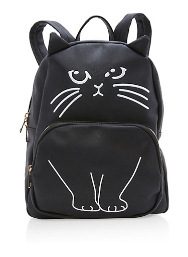 Faux Leather Kitten Embroidered Backpack,BLACK/WHITE,large