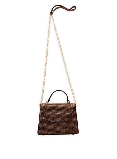 Small Netted Glitter Crossbody Bag,BLACK,large