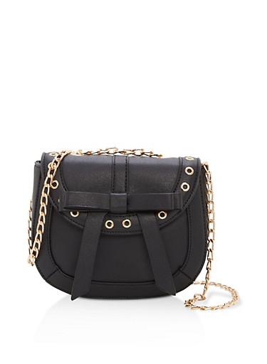 Bow Accented Faux Leather Crossbody Bag,BLACK,large