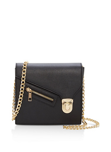 Square Faux Leather Chain Strap Crossbody Bag,BLACK,large