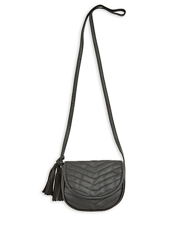 Mini Chevron Stitched Tassel Crossbody Bag,BLACK,large