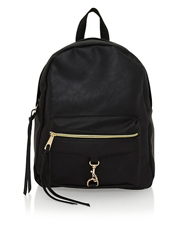 Faux Leather Back Pack,BLACK,large