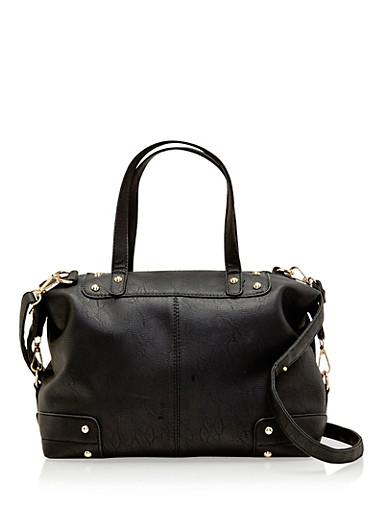 Studded Faux Leather Satchel Bag,BLACK,large