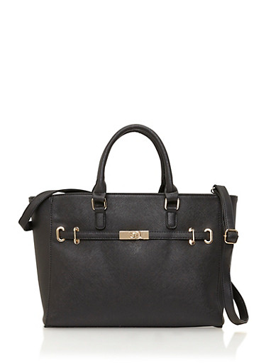 Textured Faux Leather Tote Bag with Crossbody Strap,BLACK,large