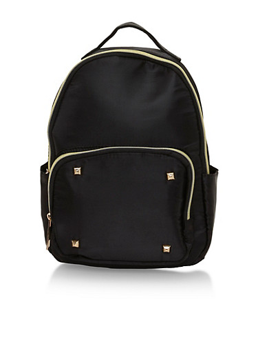 Faux Leather Mini Back Pack with Studded Accents,BLACK,large