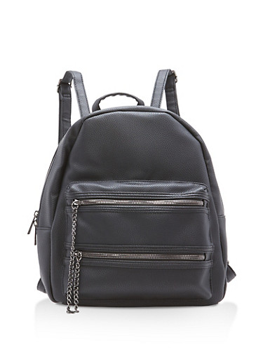 Faux Leather Double Zip Chain Backpack,BLACK,large