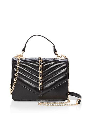 Chevron Stitch Chain Crossbody Bag,BLACK,large