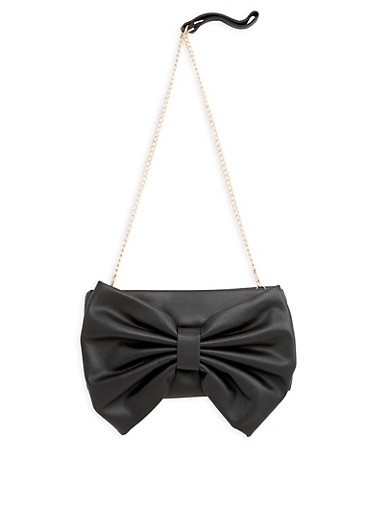Faux Leather Bow Clutch,BLACK,large
