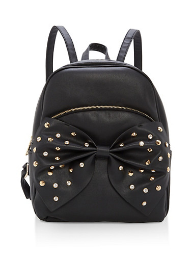 Studded Bow Faux Leather Backpack,BLACK,large