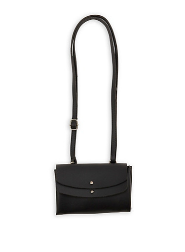 Double Flap Studded Faux Leather Crossbody Bag,BLACK,large