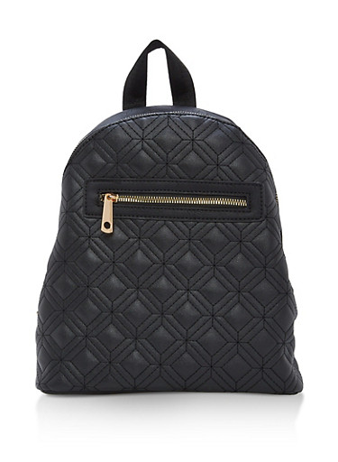 Quilted Faux Leather Backpack,BLACK,large