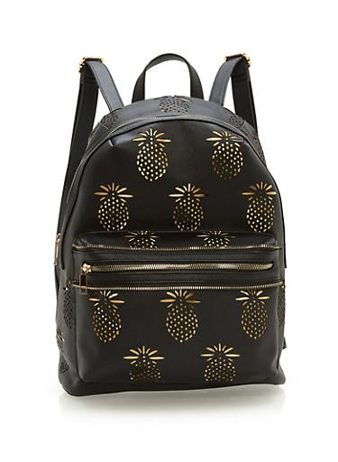 Laser Cut Pineapple Backpack,BLACK,large