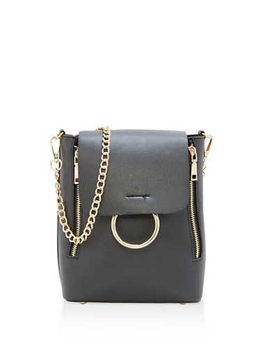Convertible Faux Leather Backpack,BLACK,large
