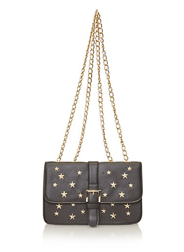 Double Strap Star Studded Crossbody Bag,BLACK,large