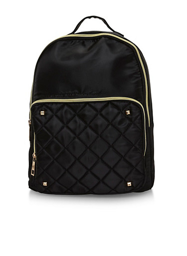 Satin Quilted Back Pack with Metal Stud Accents,BLACK,large