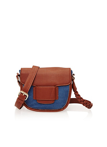 Crossbody Bag in Denim and Faux Leather,COGNAC/DENIM,large