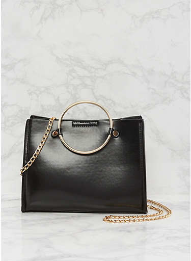 Small Faux Leather Handbag with Metal Ring Handles,BLACK,large