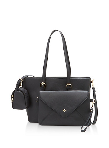 Faux Leather Tote with Removable Clutch and Pouch,BLACK,large