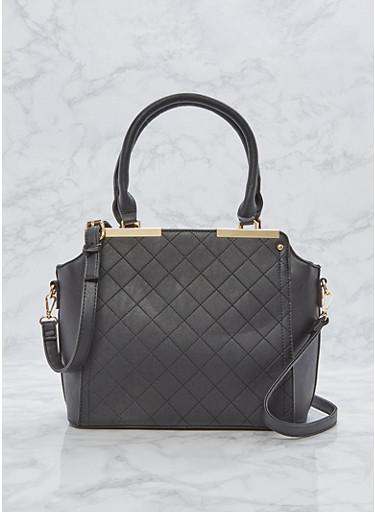 Faux Leather Metallic Bar Handbag,BLACK,large