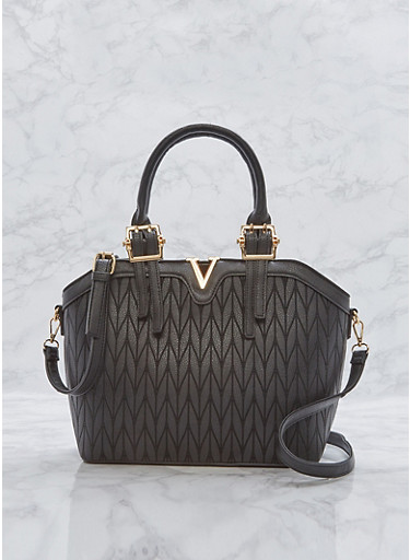 Faux Leather Embossed Metallic Detail Bag,BLACK,large