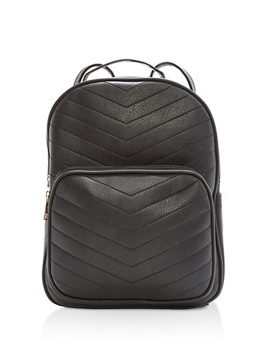 Chevron Embossed Faux Leather Backpack,BLACK,large