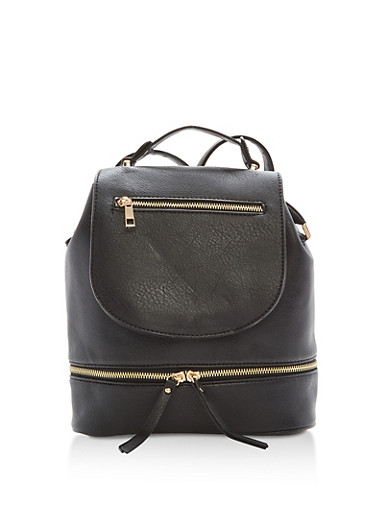 Faux Leather Zipper Accented Backpack,BLACK,large