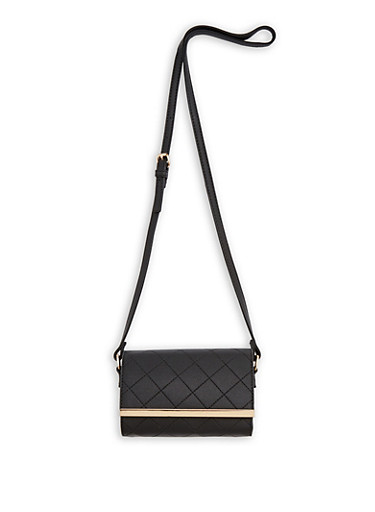 Stitched Faux Leather Crossbody Bag,BLACK,large