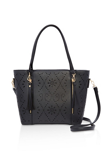 Multi Zip Faux Leather Laser Cut Tote,BLACK,large