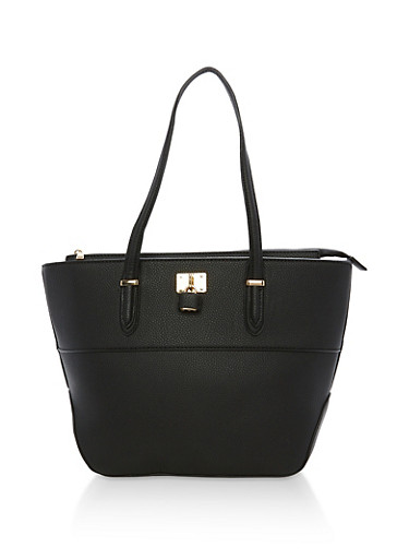 Faux Leather Tote Bag with Lock Detail,BLACK,large