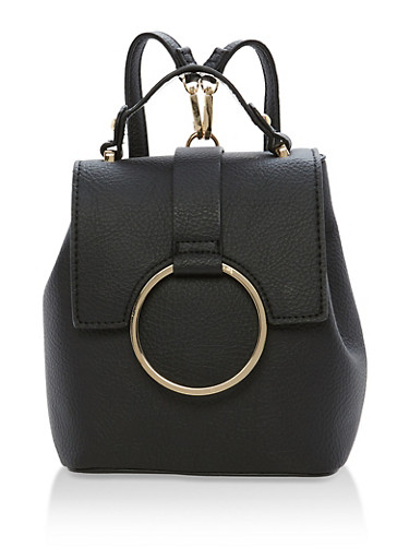 Mini Satchel Backpack,BLACK,large