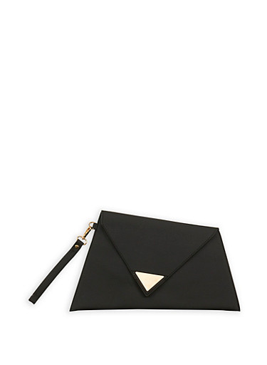 Asymmetrical Triangle Clutch,BLACK,large