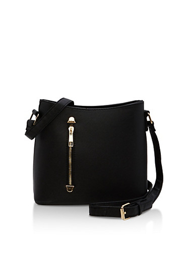 Textured Faux Leather Crossbody Bag with Front Zip,BLACK,large