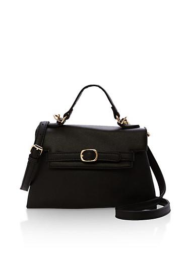 Faux Leather Fold Over Handbag with Belt Detail,BLACK,large