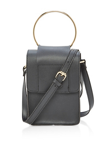 Faux Leather Crossbody Bag with Metal Ring Detail,BLACK,large
