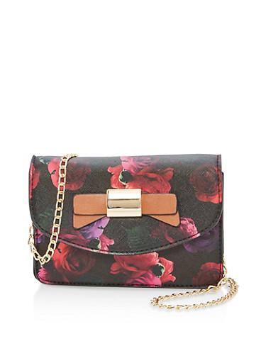 Floral Faux Leather Crossbody Bag,BLACK,large