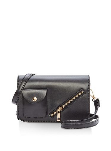 Small Zip Front Crossbody Bag,BLACK,large