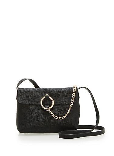 Faux Leather Chain Detail Crossbody Bag,BLACK,large