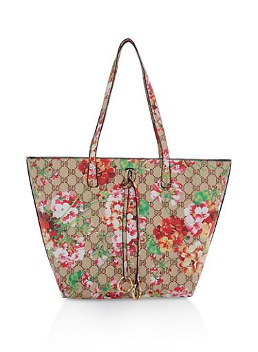 Floral Print Tote Bag,TAN,large