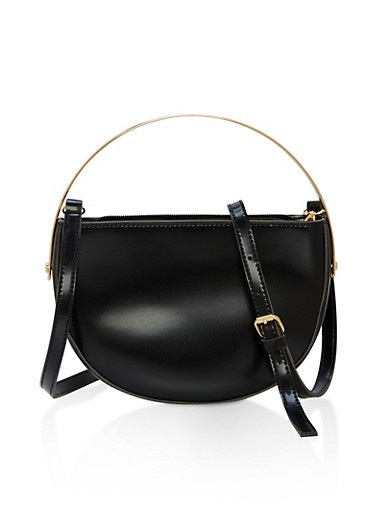 Half Moon Faux Leather Crossbody Bag with Metallic Handle,BLACK,large