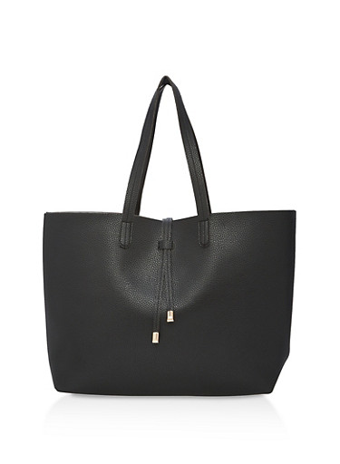 Large Textured Faux Leather Tote Bag,BLACK,large