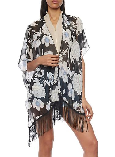 Large Floral Print Kimono with Fringe Trim,BLACK,large