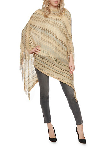 Knit Chevron Poncho with Fringe,CAMEL,large