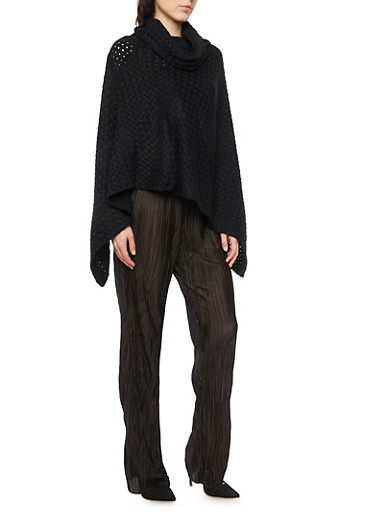 Knit Poncho with Asymmetrical Hem,BLACK,large